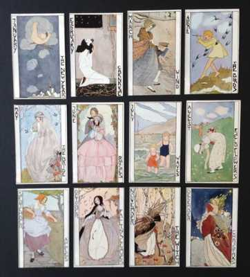 Months of the Year Postcards-Set of 12- Artist Signed Rie Cramer - Fabulous Set!