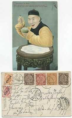 CHINA 1902 - USED PICTURE POSTCARD CHINAMAN AT MEAL MIXED FRANKING w/ RUSSIA