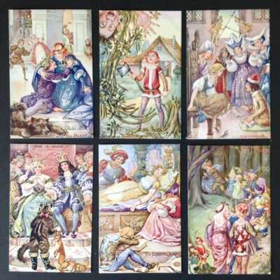 Fairy Tale Postcards-Set of 6- Unsigned M. Bowley- Beautiful, Rare Series