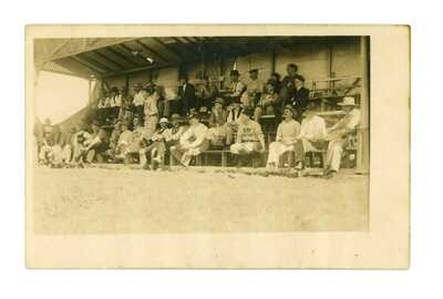 RPPC Baseball Field Stands w/ Fort Stanton Players & Fans Fort Stanton, NM c1908