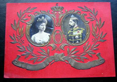 ROMANIA KING FERDINAND  & QUEEN MARIE  REAL PHOTO EMBOSSED PC