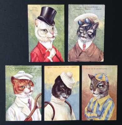 Vintage Cat Postcards (5) Unsigned Thiele? B.K.W.I. #392-Dressed Sporting Cats