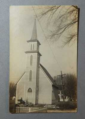 1908 RPPC Sharptown Maryland MD Post Card Postcard M.P. Church Touring Car / nr