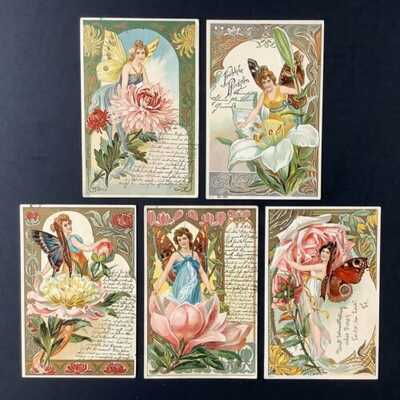Early Fantasy Butterfly Fairy Postcards (5) Art Nouveau Borders, Lovely Colors
