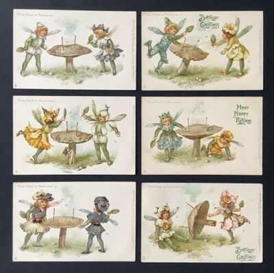 "Tuck ""Ping Pong In Fairyland"" Postcards (6) Signed Ellen Andrews-Mushroom Tables"