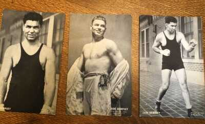 (37) 1920's Exhibit Supply Co Boxing Postcards - Dempsy, Tunney, Sharkey, & More