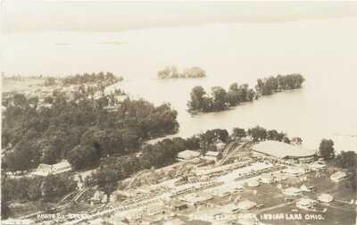 INDIAN LAKE OHIO RPPC POSTCARD SANDY BEACH PARK UNUSED ROLLER COASTER & RIDES!