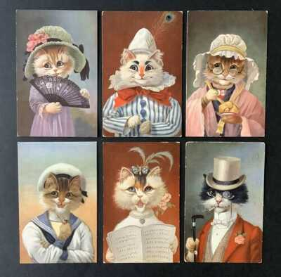 Vintage Fantasy Cat Postcards (6) Series51-Lovely Cat Portraits