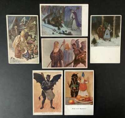 Vintage Krampus Postcards (6) Most With St. Nicholas-Some Artist Signed-Nice Lot