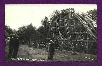 EARLY 1900s RPPC SANDY BEACH PARK INDIAN LAKE OHIO WOODEN ROLLERCOASTER