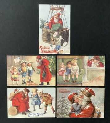 Tuck Christmas Postcards (5)Unsigned Wally Fialkowska-Santas, Adorable Children