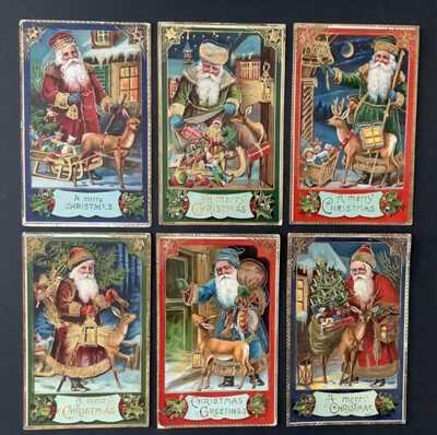 Set of 6 Vintage Santa Claus Postcards Series 16~Lovely Gel & Gilding,Rich Color