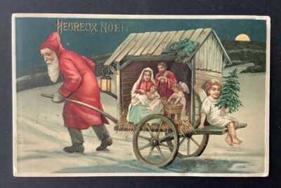 Vintage Santa Postcard ~ Santa Pulls Cart With Nativity Creche, Angel W/Tree