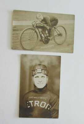Indian Motorcycle Wells Bennett Detroit Motordrome Real Photo Postcard 1913