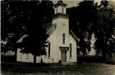 RPPC ~ EXTERIOR ~ BLOCK CHURCH ~ CHAMPAIGN COUNTY ~ SIDNEY ILLINOIS           8E