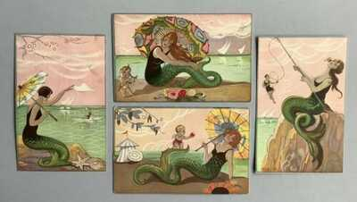 Vintage Fantasy Mermaid Postcards (4) Signed Chiostri ~ Lovely Coloring, Details