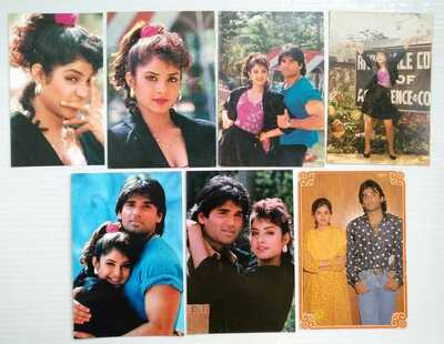 Bollywood actors - Divya Bharti Bharati & Sunil Shetty - Lot 5 Rare postcards