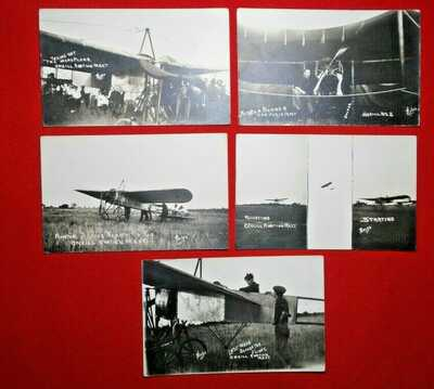 FIVE RPPC's O'Neill, Nebraska - AVIATION meet - Phelps photos - unused - MINT