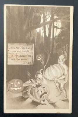 "Vintage Gibson Halloween Postcard ~ ""Imps and Brownies come out tonight.."""