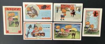 Vintage Whitney Halloween Postcards (6) Animated Pumpkin Headed Children ~ Cute!