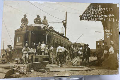 1911 Britton Express Train Wreck North Oklahoma Station RPPC Photo Postcard