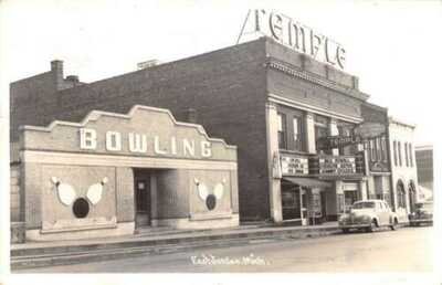 East Jordan Michigan Bowling Alley Temple Theater Real Photo Postcard AA20737