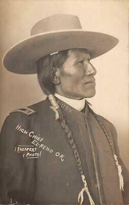 Native American High Chief w/hat by Shiffert El Reno Ok rppc postcard AQ100