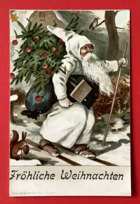 Early White Robed Santa Postcard ~ Frohliche Weihnachten ~Santa w/Skis, Squirrel