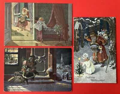 A/S Arthur Thiele Santa Postcards (3) Red, Green Robes, Great Use Of Light