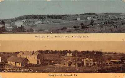 Esmont Virginia 2 Views Birds Eye View Main Street WE Burgess Postcard AA21953