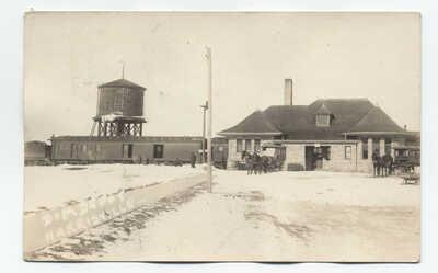 1922 Harrisville MI railroad depot realphoto postcard [5790.14]