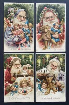 Vintage Santa Postcards (4)Various Robe Colors, Dolls, Children Asleep Beautiful