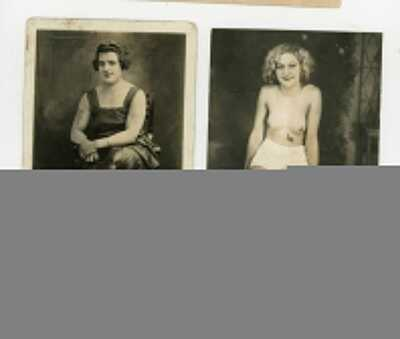 Two Postcards of Tattooed Woman Showing Off There New Tattoos