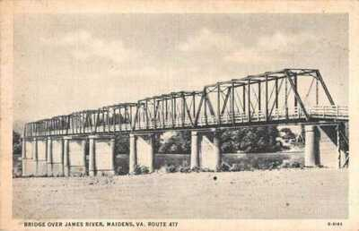 Maidens Virginia Bridge Over James River W.E. Burgess Vintage Postcard AA22804