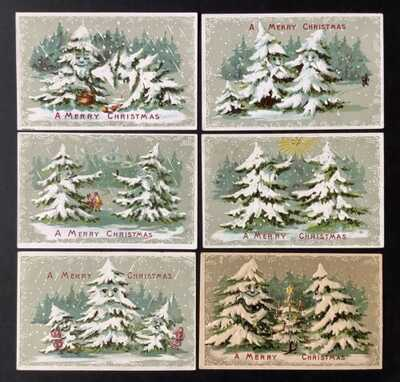 Vintage Fantasy Christmas Postcards (6) Animated Trees, Pine Bough Borders
