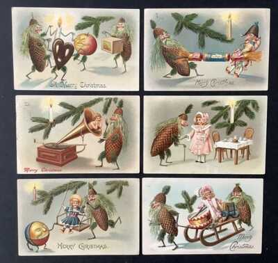 Vintage Fantasy Christmas Postcards (6)Animated Pinecones, Toys, Fruit ~ Fun Set
