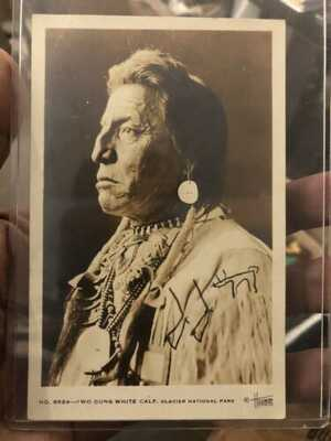 SIGNED Chief Two Guns White Calf Real Photo Postcard 1920-30s