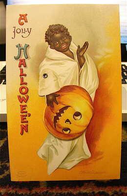 Antique ---Mechanical Halloween Post Card-----BLACK Americana*******