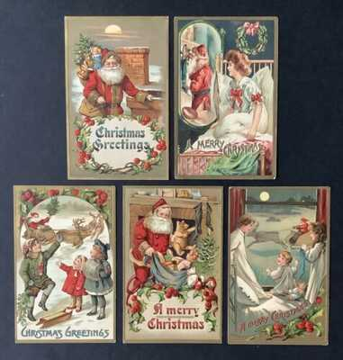 Vintage Santa Claus Postcards (5) Red Suits, Lovely Embossing, Gold Accents
