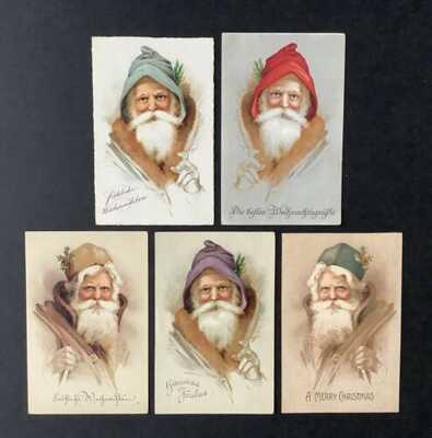 Vintage Santa Claus Postcards (5) Lovely Santa Portraits Various Hats ~ Lovely