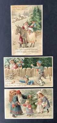 Vintage Santa Claus Postcards (3) Santa With Donkey, Children at Fence, Toys