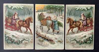 Vintage Santa Postcards (3) G.G.K. Series 408 ~ Lovely Santas, Horses