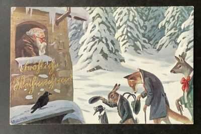 A/S Mailick Santa Postcard ~ Dressed Animals Greet Santa at Window-Snowy Pines