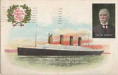 Titanic & Olympic Pre-sinking Christmas & New Years Greetings DEC 1911 Postcard