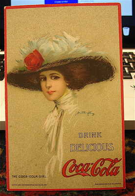 Antique ---Posted 1914---Coca-Cola Girl Post Card-----free ship