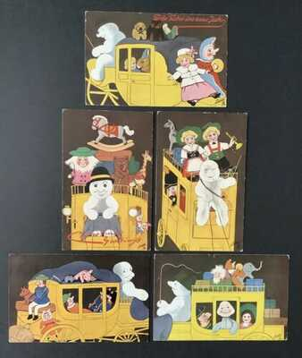Tuck Snowman Postcards (5) Series 9958, 804 ~ Unsigned W. Fialkowska ~ Carriages