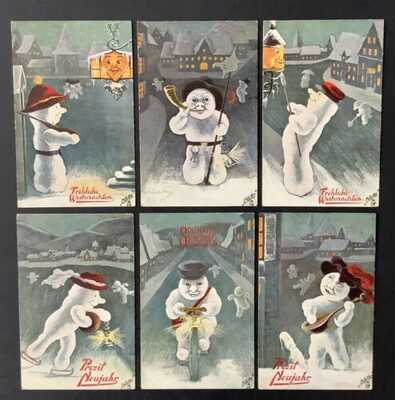 Tuck Snowman Postcards (6) Series 555 ~ Unsigned Fialkowska~Sweet Animated Guys!