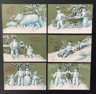Vintage Fantasy Snowman Postcards (6) Even Snow Pig Family! Green Bkgd, Gold