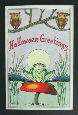 Halloween Greetings Owls Full Moon Frog on Toadstool Postcard