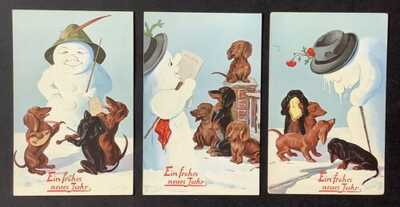 Tuck New Year Snowman Postcards (3) Series 887 ~ Snowmen and Dachshunds